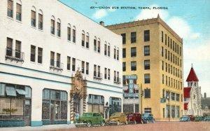 Vintage Postcard 1930's Union Bus Station Tampa FL Florida Sand Streets