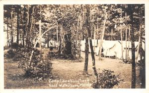 East Waterboro, York ME Camp Laughing Loon~Line of Tents Among Trees RPPC 1942