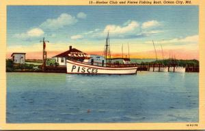 Maryland Ocean City Harbor Club and Pisces Fishing Boat Curteich