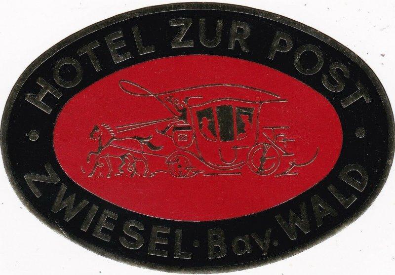 Germany Zwiesel Hotel Zur Post Vintage Luggage Label sk2869