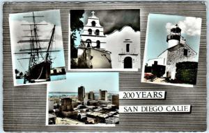 RPPC  SAN DIEGO, California CA   Tinted MULTI VIEW  Light House Skyline Postcard