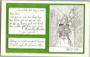 Comic Love Letters Girl & Mother Poems c1908 Bishop Vintage Postcard A31