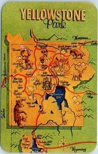 1950s YELLOWSTONE National Park Postcard Big Letter / Park Map Dexter Chrome