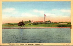Maryland Baltimore Panoramic View Historic Fort McHenry 1944 Curteich