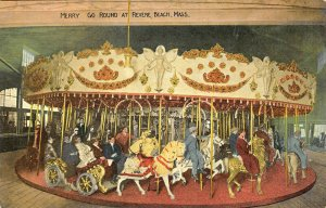 Revere Beach MA Merry Go Round Carousel Riders Postcard
