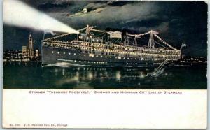 Vintage Chicago & Michigan City Line Postcard STEAMER THEODORE ROOSEVELT 1909