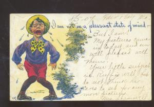 NOT IN A PLEASANT STATE OF MIND CRYING BOY VINTAGE COMIC POSTCARD BOLIVAR MO.