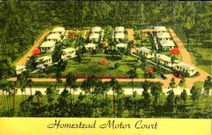 HOMESTEAD FL - HOMESTEAD MOTOR COURT - 1950s era / aerial / LEISURE CITY cancel