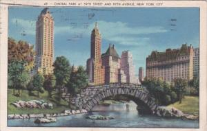 New York City Central Park At 59th Street and Fifth Avenue 1940