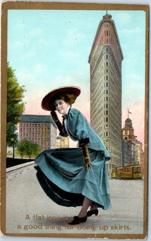 1909 New York City Postcard FLATIRON Building A Good Thing for Doing Up Skirts