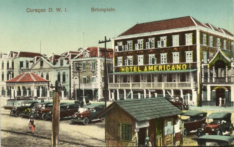curacao, N.W.I., WILLEMSTAD, Brion Square, Hotel Americano, Cars (1910s)
