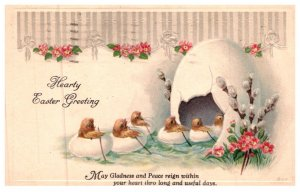 Easter , Chicks in Egg Boats flowing into Egg Cave