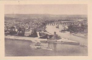 Germany Koblenz Das Deutsche Eck mit Dampfer