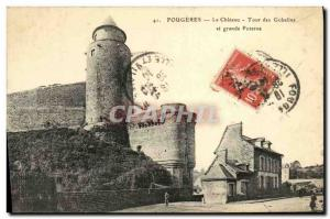 Old Postcard Fougeres Chateau Tour des Gobelins and large Postern