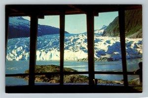 Juneau AK-Alaska, Mendenhall Glacier View from Observatory Chrome Postcard