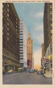 Oklahoma Tulsa Boston Avenue Looking North 1944 Curteich