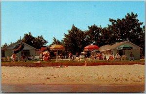 Traverse City, Michigan Postcard LINGAMOR RESORT Bathing Beach Scene c1950s