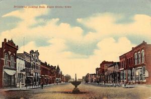 Eagle Grove Iowa~Broadway East~Downtown~Horse Trough~Music House~1912 Postcard