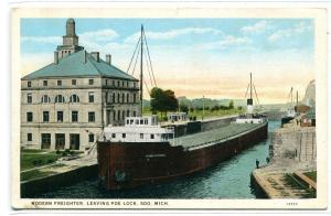 Steamer George Perkins Great Lakes Freighter Poe Lock Soo Michigan postcard