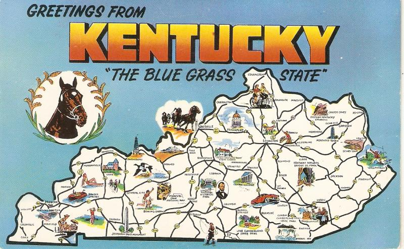 Greetings from Kentucky. Map. Horses Nice American pc 1950s