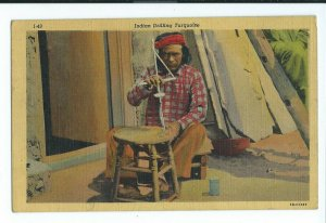 Postcard 1930-1945 Circa INDIAN DRILLING TURQUOISE Art Colortone Card VPC1.