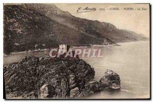 Postcard Old Porto Corsica Tower
