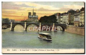 Old Postcard Paris Ile Saint Louis Quai d & # 39Orleans and Notre Dame