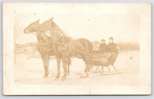 RPPC Dignified, Large Twin Horses Pull Blanketed Gents in Open Sleigh, Hey! 1910