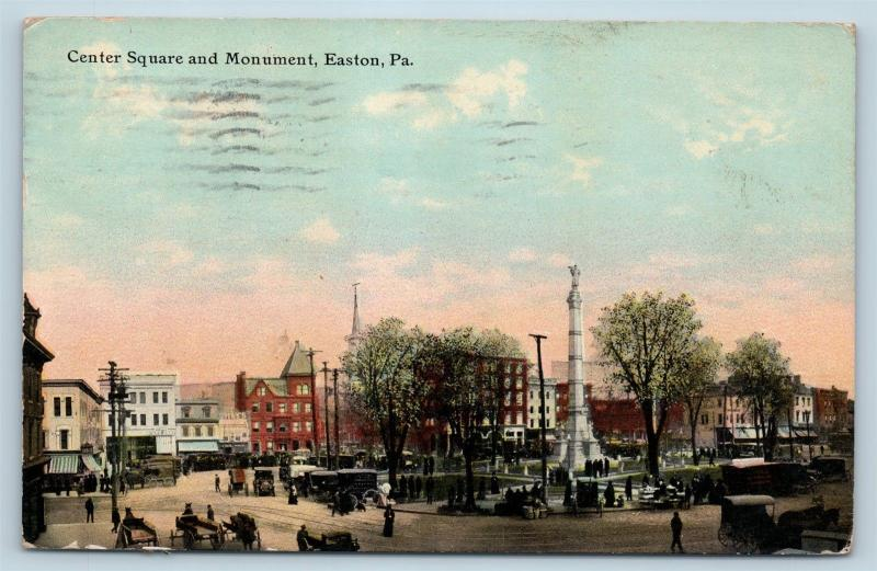 Postcard PA Easton Center Square and Monument 1911 Street View J20