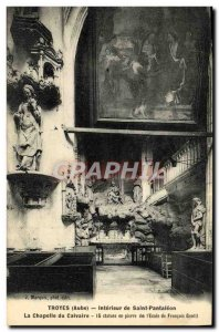 Postcard Old Troyes Interior of Saint Pantaleon The Calvary Chapel
