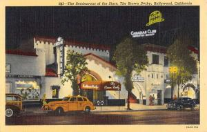 Hollywood California Brown Derby Rendezvous Of The Stars Antique Postcard K93451