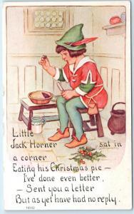 Nursery Rhyme  LITTLE JACK HORNER  Signed Artist Nosworthy?  Postcard