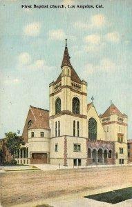 First Baptist Church, Los Angeles, CA 1912 Vintage Postcard