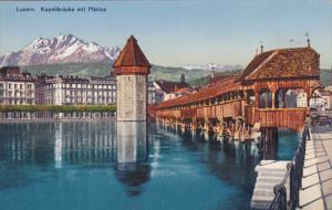 LUZERN, Switzerland, 1900-1910´s; Kapellbrucke Mit Pilatus