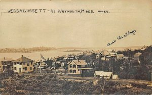 North Weymouth MA Wessagussett Bay View Cottages Real Photo Postcard