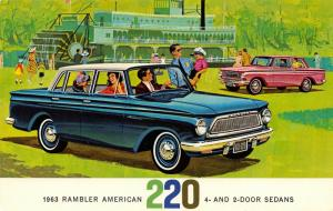 Automobile~Rambler American 220~4 & 2 Door Sedans~Artist Conception~1963 Adv PC