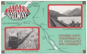 Penrhyn Railway Llyn Padarn Port Rug Map Dinorwic Stabla Old Poster Postcard