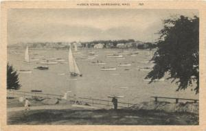 Marblehead Massachusetts~Harbor Scene~Boats And Sailboats~1920s Postcard