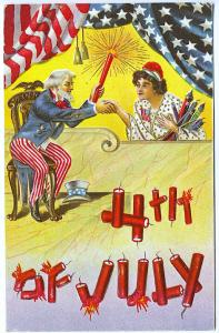 July 4th Uncle Sam & Woman Shaking Hands Firecrackers Flag Bunting Postcard