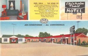 Enid Oklahoma birds eye view Chisholm Trail Motel linen antique pc Y15654