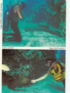 CAYMAN ISLANDS, B.W.I. , 1993; Moray Eel, Laura with Eel, Skindivers
