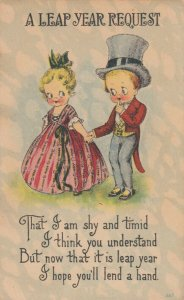 LEAP YEAR, PU-1916; Rhyme, Little boy in top hat shyly grabs girls hand