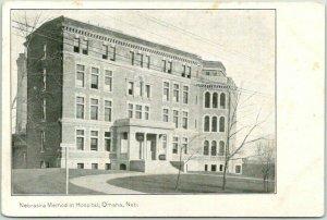 Omaha, Nebraska Postcard NEBRASKA METHODIST HOSPITAL Building View c1930s Unused