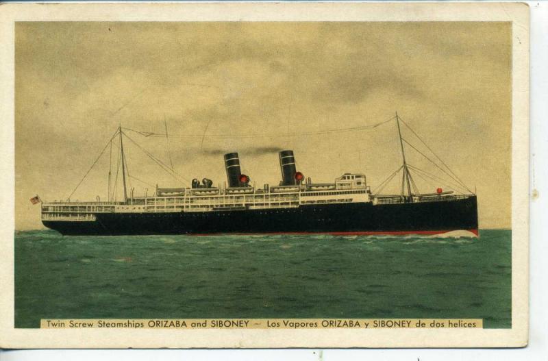WARD LINE NEW YORK AND CUBA MAIL STEAMSHIP CO. SHIP POSTCARD