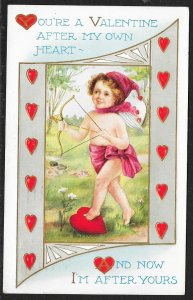 You are a Valentine Cupid Bow Red Hat & Hearts Used c1914