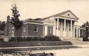 Fremont Michigan~Community Building~Tall Greek Columns~No Parking Sign~'20s RPPC
