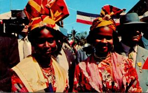 Guadeloupe Native Women Wearing Colorful Headdress Greetings From The French ...