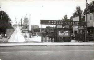 Pioneer Village Amusement Park State Capitol in Background Real Photo Postcard