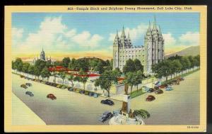 Temple & Brigham Young Monument Salt Lake City unused c1943