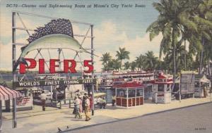 Florida Miami Charter And Sight Seeing Boats At Miami's City Yacht Basin 1957